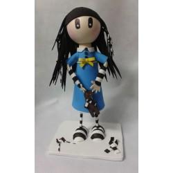 Gorjuss niña vestido azul...